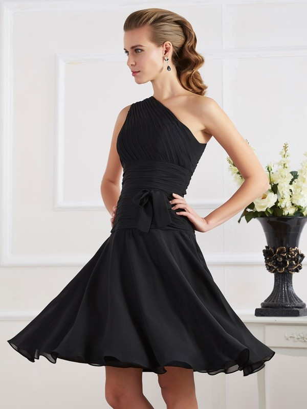 Elegant A-Line One-Shoulder Sleeveless Short Chiffon Homecoming Dress