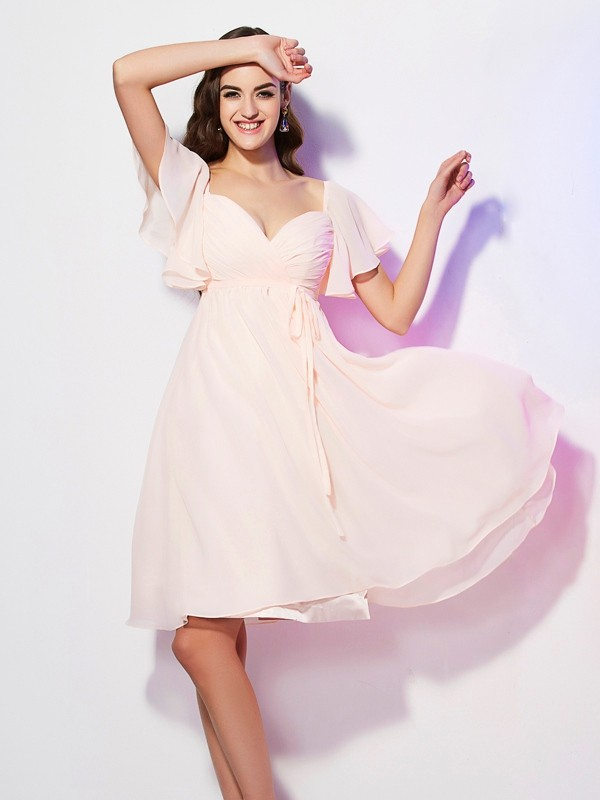 Elegant Sheath Sweetheart Short Sleeves Short Chiffon Bridesmaid Dress