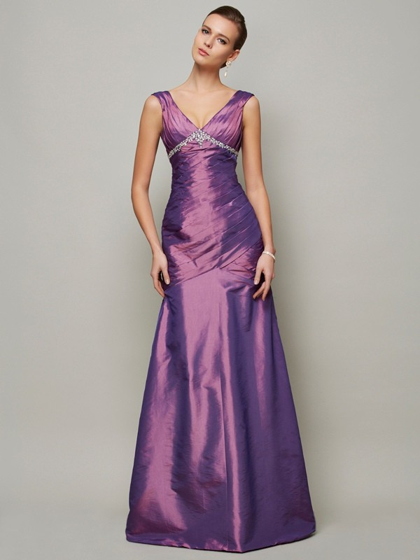 Chic Sheath V-neck Sleeveless Long Taffeta Dress