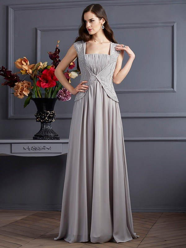 Chic A-Line Square Sleeveless Long Chiffon Dress