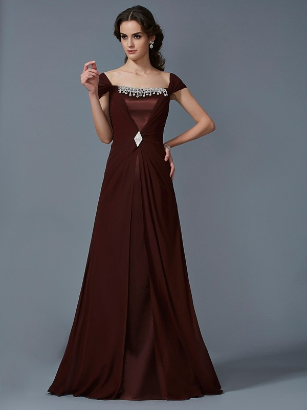 Chic A-Line Strapless Short Sleeves Long Chiffon Dress