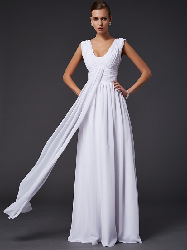 Chic A-Line Jewel Sleeveless Long Chiffon Dress