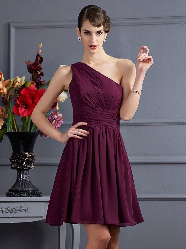 Chic A-Line One-Shoulder Sleeveless Short Chiffon Bridesmaid Dress