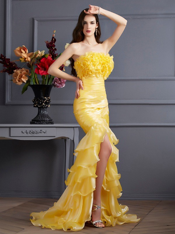 Chic Mermaid Strapless Sleeveless Long Tulle Dress