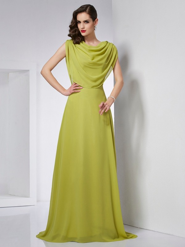 Stylish A-Line High Neck Sleeveless Long Chiffon Dress
