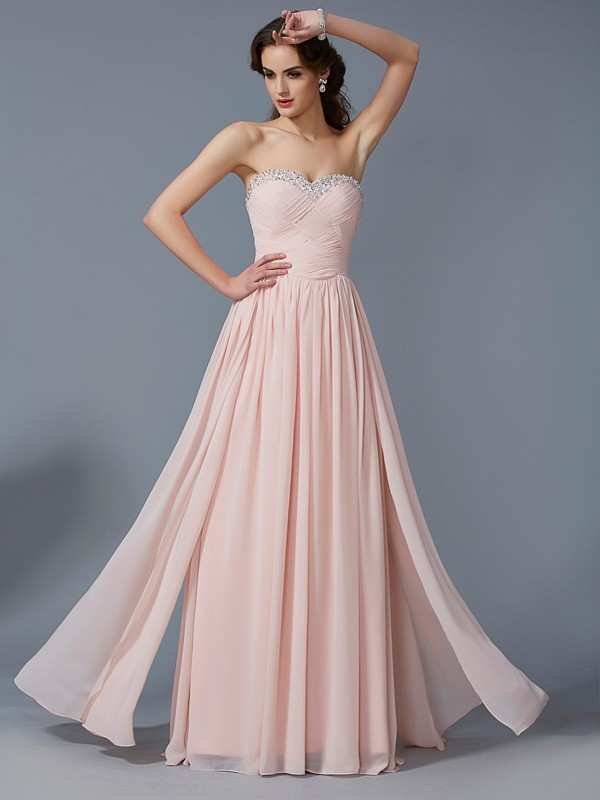 Stylish A-Line Sweetheart Sleeveless Long Chiffon Dress