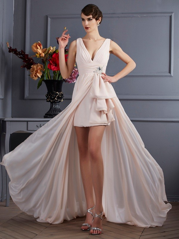 Stylish A-Line Straps Sleeveless Long Chiffon Dress