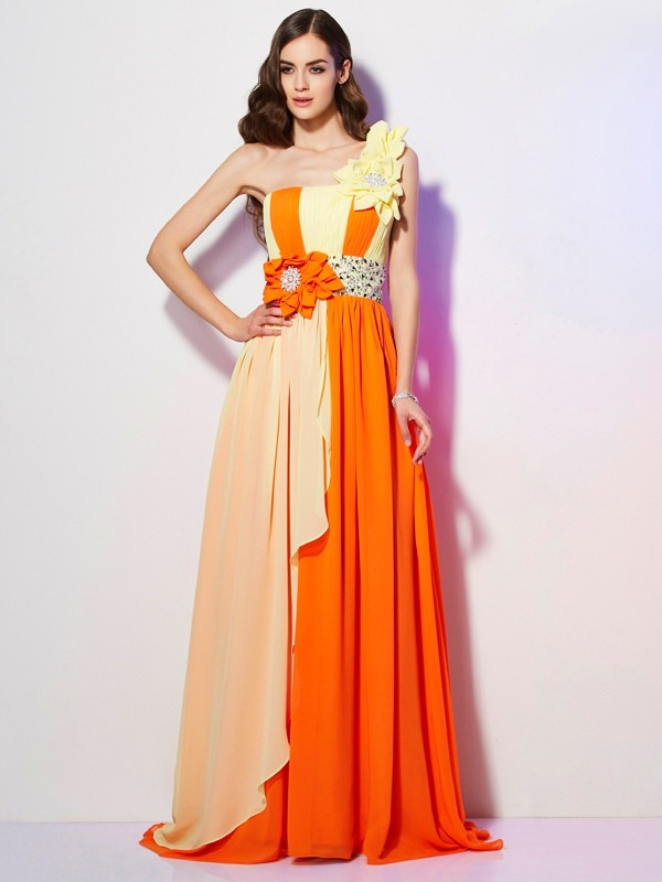 Stylish A-Line One-Shoulder Sleeveless Long Chiffon Dress