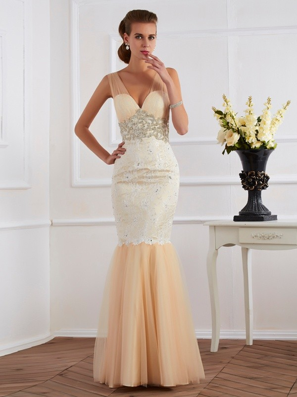 Stylish Mermaid Straps Sleeveless Long Net Dress