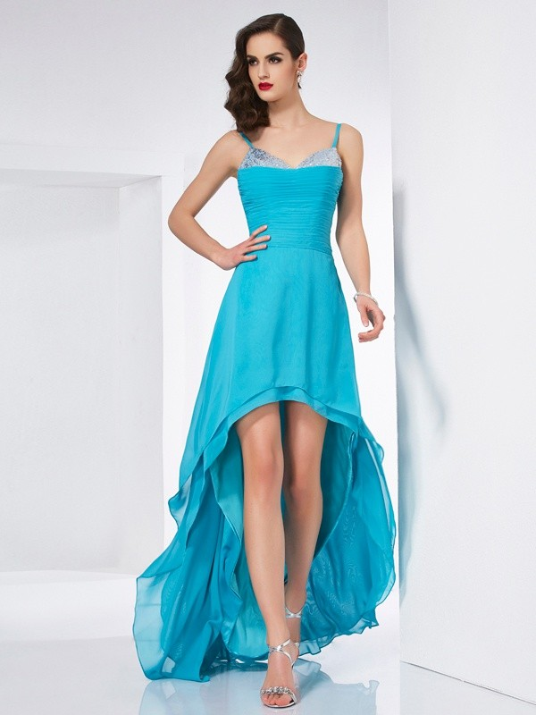 Stylish A-Line Spaghetti Straps Sleeveless High Low Chiffon Dress