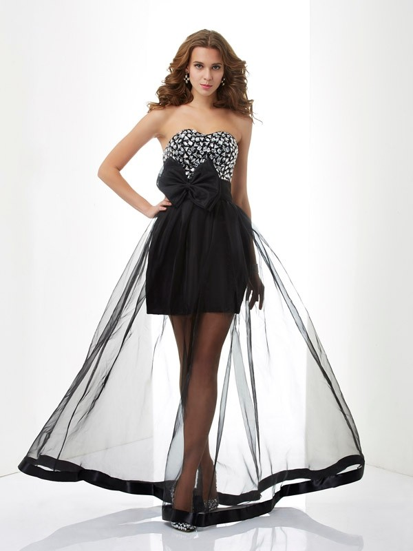 Stylish A-Line Sweetheart Sleeveless Long Organza Dress