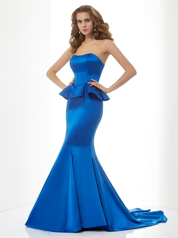 Stylish Mermaid Sweetheart Sleeveless Long Satin Bridesmaid Dress