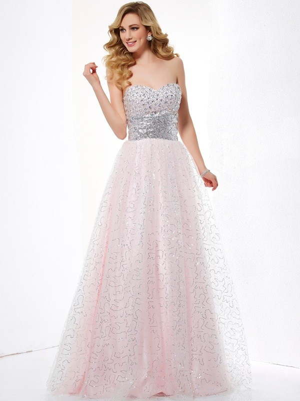 Fashion Ball Gown Sweetheart Sleeveless Long Net Dress