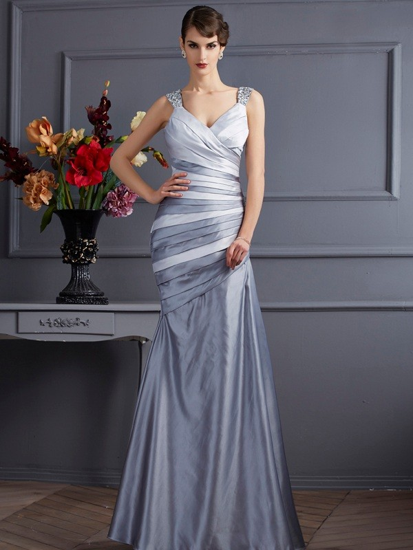 Fashion Mermaid Straps Sleeveless Long Satin Dress