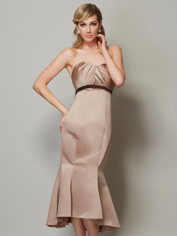 Fashion Sheath Strapless Sleeveless Short Satin Dress