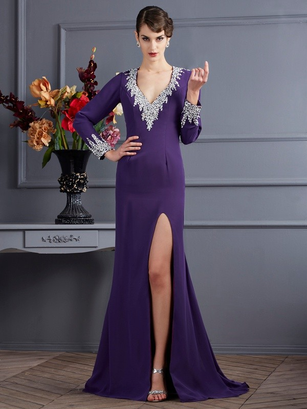 Fashion Mermaid V-neck Long Sleeves Long Chiffon Dress