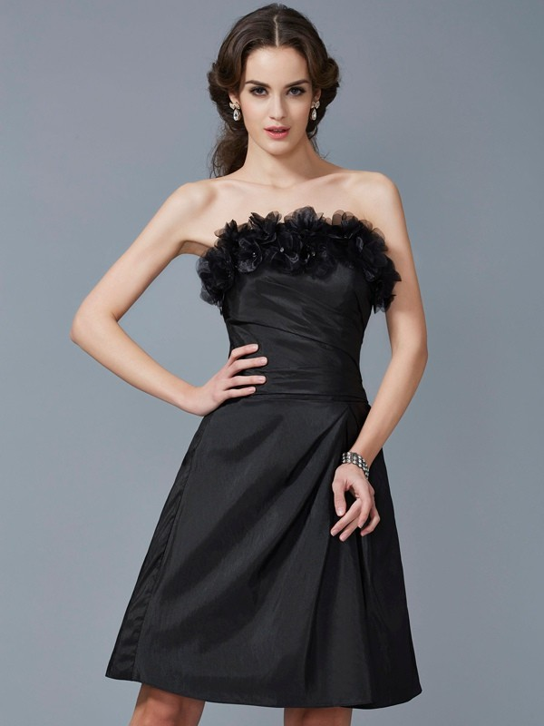 Fashion Sheath Strapless Sleeveless Short Taffeta Bridesmaid Dress