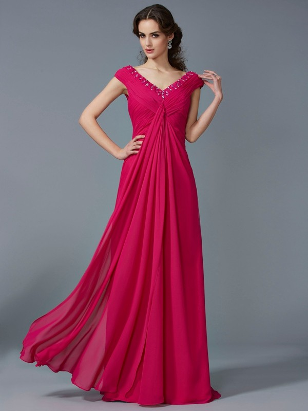 Fashion A-Line V-neck Short Sleeves Long Chiffon Dress