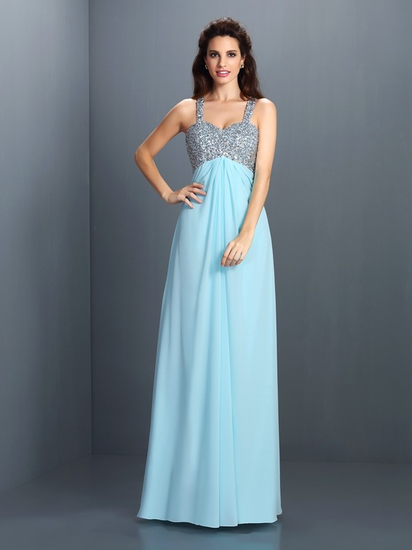 Fashion A-Line Straps Sleeveless Long Chiffon Dress