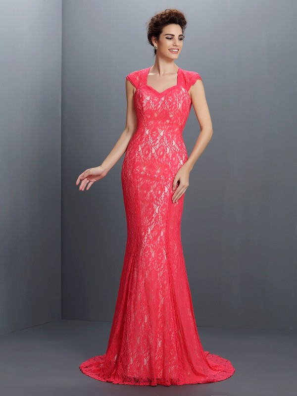 Fashion Mermaid V-neck Lace Sleeveless Long Lace Dress