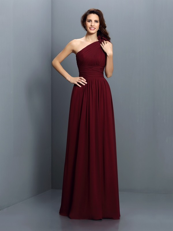 Fashion A-Line One-Shoulder Sleeveless Long Chiffon Bridesmaid Dress