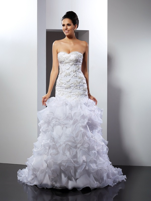 Fashion Mermaid Sweetheart Sleeveless Long Organza Wedding Dress