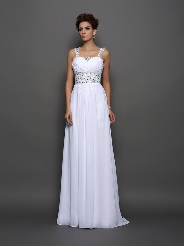 Exquisite A-Line Straps Sleeveless Long Chiffon Wedding Dress