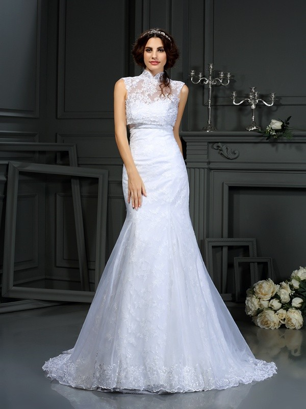 Exquisite Mermaid Sweetheart Lace Sleeveless Long Satin Wedding Dress