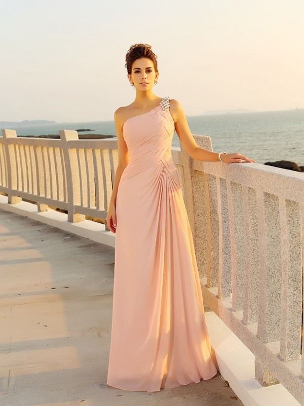 Exquisite A-Line One-Shoulder Sleeveless Long Chiffon Dress