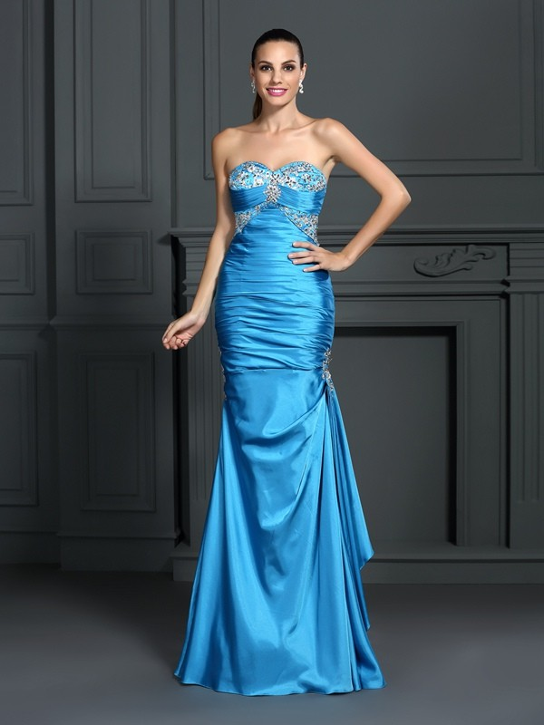 Exquisite Mermaid Sweetheart Sleeveless Long Elastic Woven Satin Dress