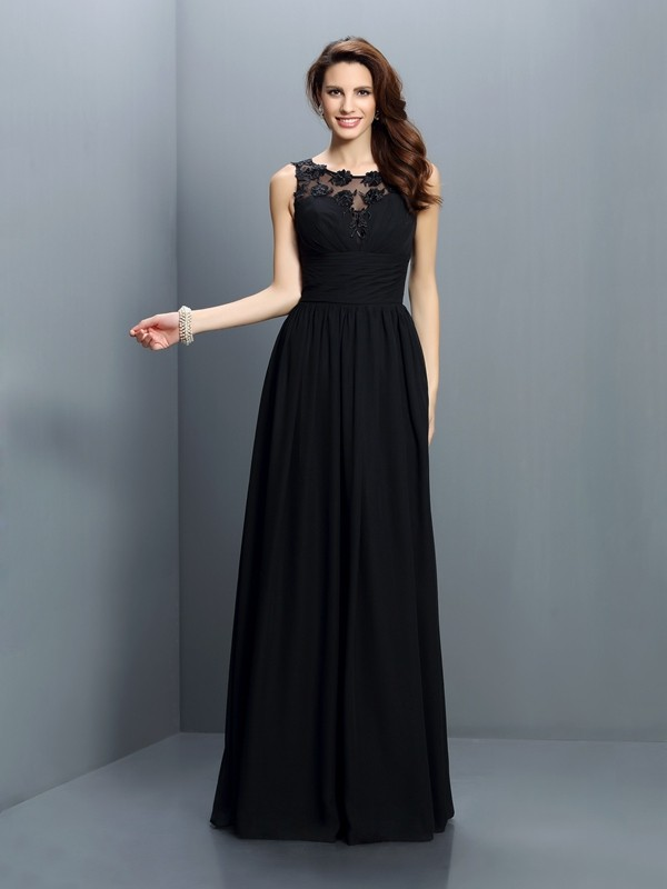 Exquisite A-Line Bateau Sleeveless Long Chiffon Bridesmaid Dress
