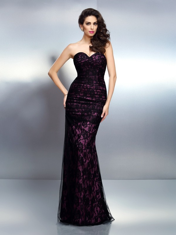 Exquisite Mermaid Sweetheart Lace Sleeveless Long Elastic Woven Satin Dress