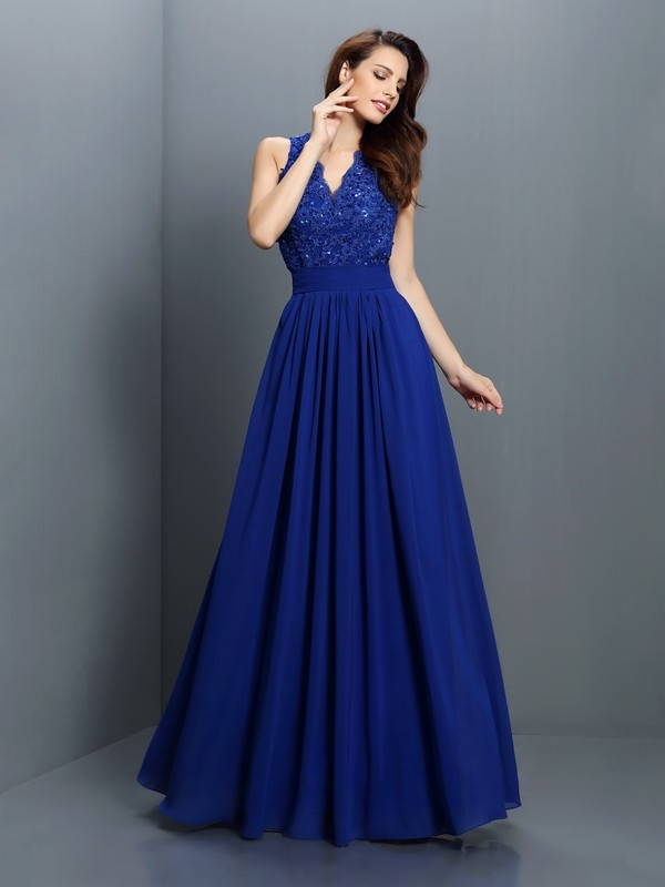 Exquisite A-Line V-neck Sleeveless Long Chiffon Bridesmaid Dress