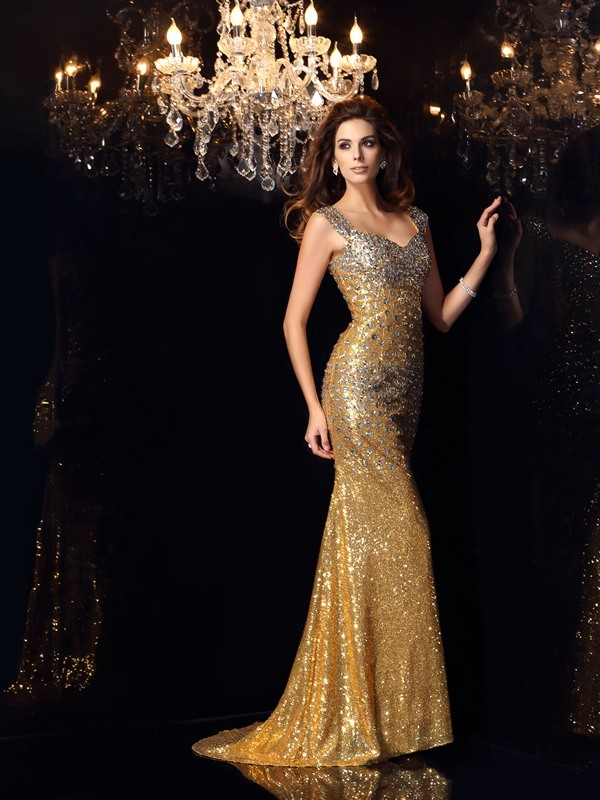 Exquisite Mermaid Straps Sleeveless Long Sequins Dress
