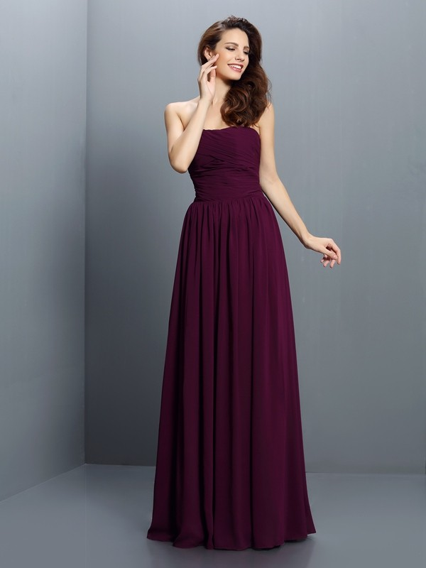 Exquisite A-Line Strapless Sleeveless Long Chiffon Bridesmaid Dress