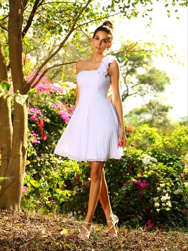 Exquisite A-Line One-Shoulder Sleeveless Short Chiffon Bridesmaid Dress