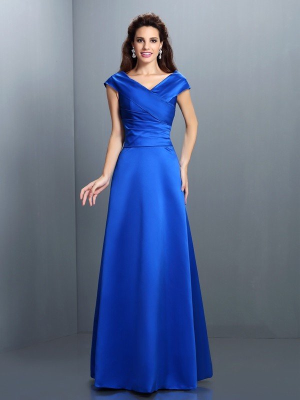 Charming A-Line V-neck Sleeveless Long Satin Dress