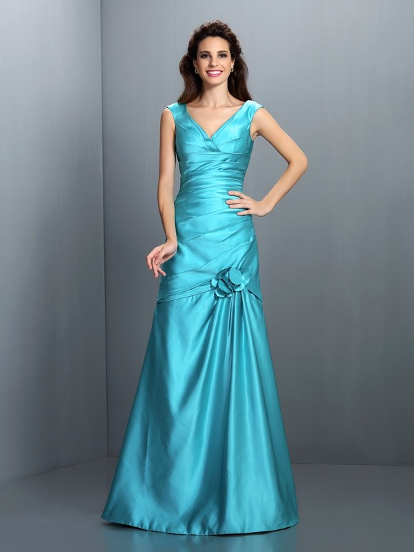 Charming A-Line V-neck Sleeveless Long Satin Bridesmaid Dress
