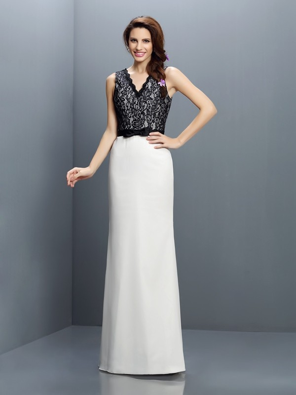 Charming Sheath V-neck Lace Sleeveless Long Chiffon Bridesmaid Dress