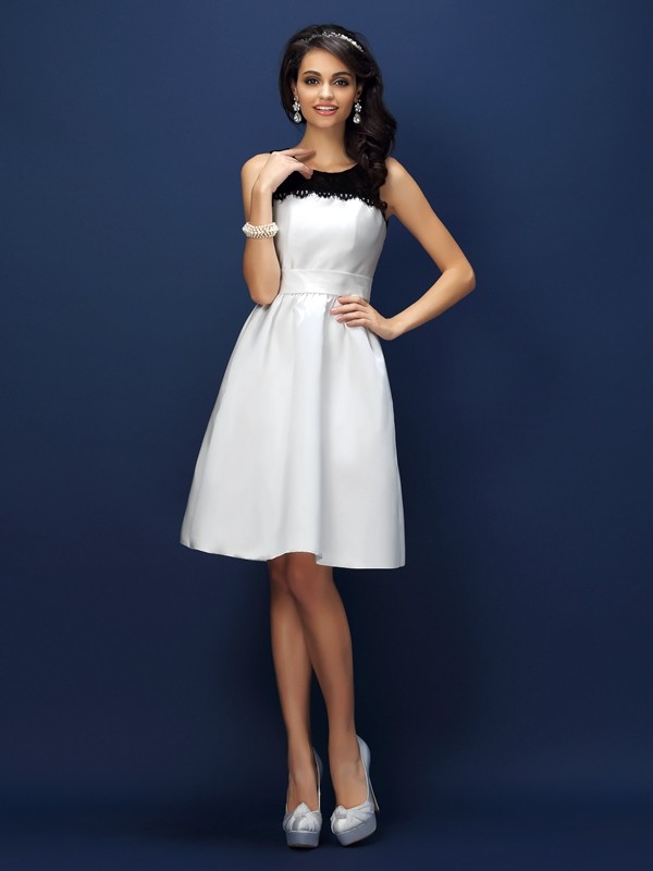 Charming Sheath Bateau Lace Sleeveless Short Satin Bridesmaid Dress