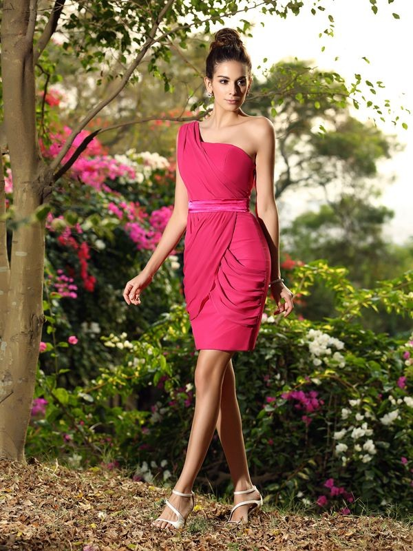 Charming Sheath One-Shoulder Sleeveless Short Chiffon Bridesmaid Dress