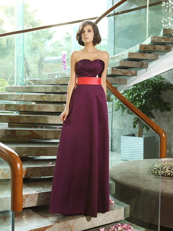 Charming A-Line Sweetheart Sleeveless Long Satin Bridesmaid Dress