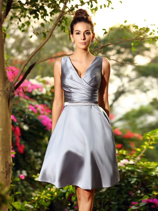 Charming A-Line V-neck Sleeveless Short Satin Bridesmaid Dress