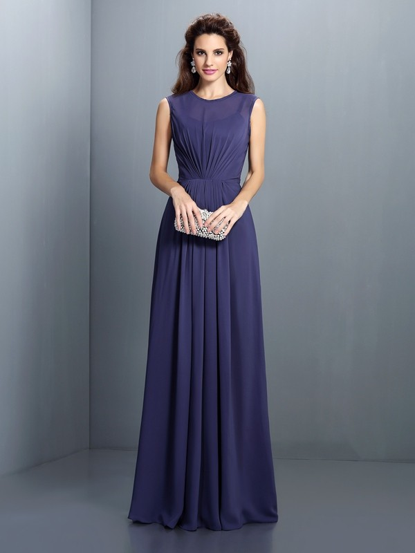 Charming A-Line High Neck Sleeveless Long Chiffon Bridesmaid Dress