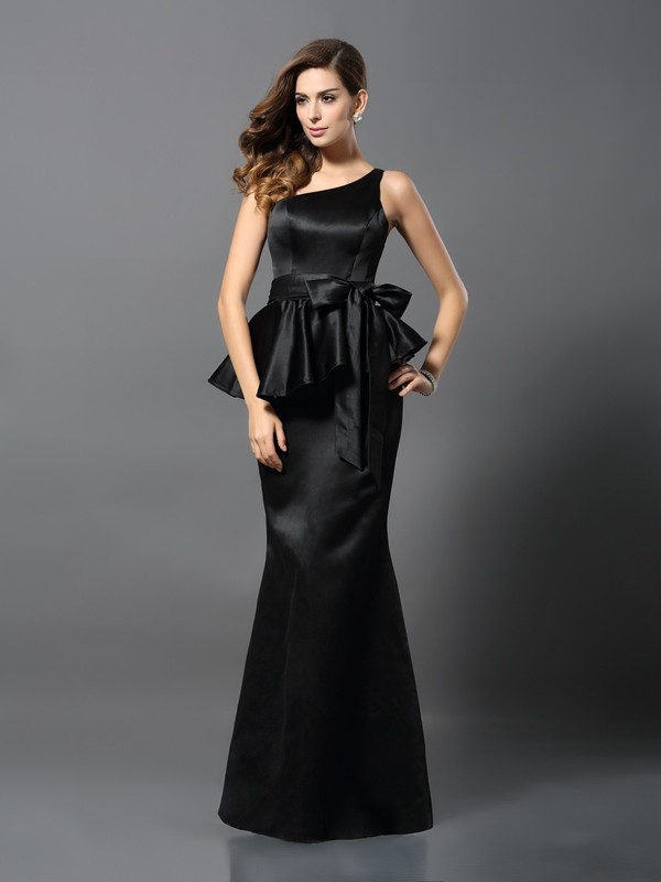 Charming Mermaid One-Shoulder Sleeveless Long Satin Dress