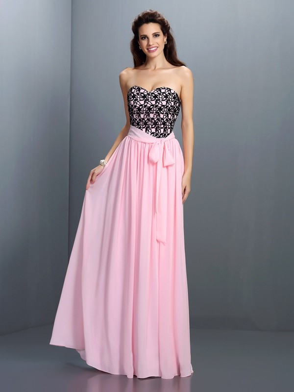 Charming A-Line Sweetheart Lace Sleeveless Long Chiffon Dress