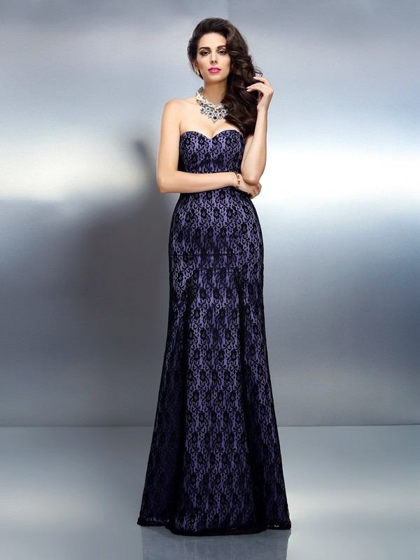 Charming Mermaid Sweetheart Lace Sleeveless Long Satin Dress