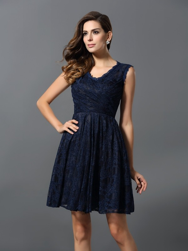 Charming A-Line V-neck Lace Sleeveless Short Satin Bridesmaid Dress
