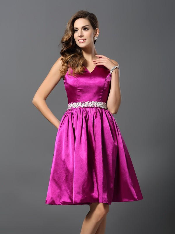 Charming A-Line Straps Sleeveless Short Elastic Woven Satin Bridesmaid Dress