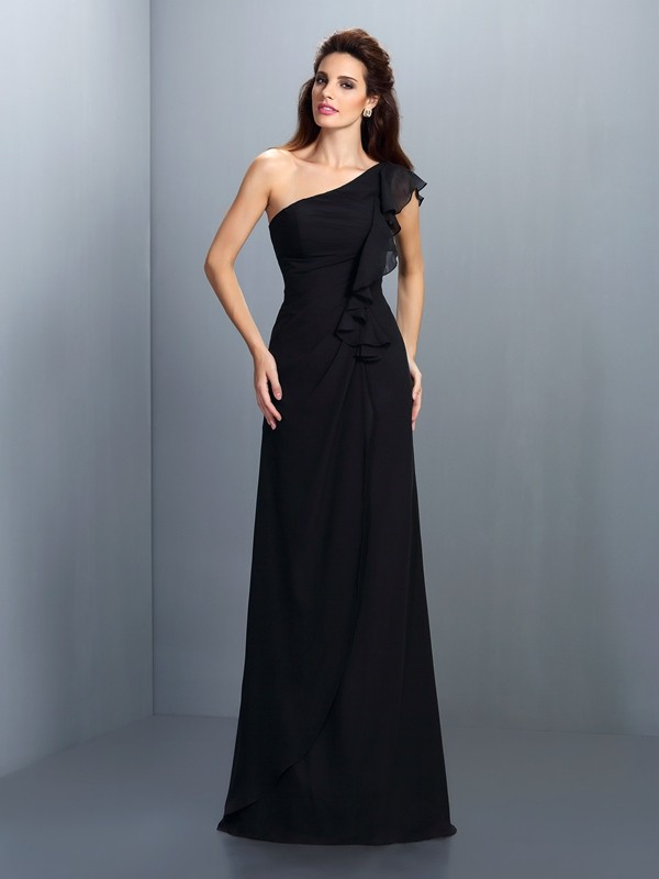 Charming Sheath One-Shoulder Sleeveless Long Chiffon Bridesmaid Dress